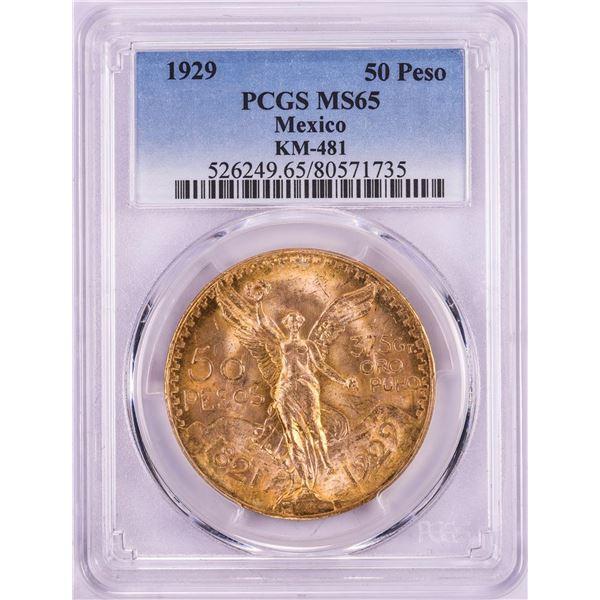 1929 Mexico 50 Pesos Gold Coin PCGS MS65