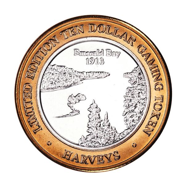.999 Silver Harveys Lake Tahoe, Nevada $10 Casino Limited Edition Gaming Token