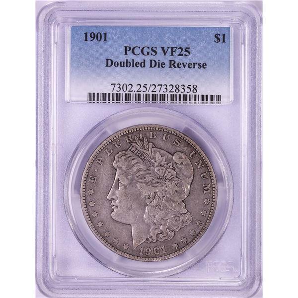 1901 Doubled Die Reverse $1 Morgan Silver Dollar Coin PCGS VF25