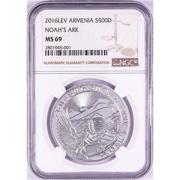 2016-LEV Armenia 500 Dram Noah's Ark Silver Coin NGC MS69
