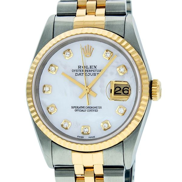 Rolex Mens Two Tone Mother Of Pearl Diamond Datejust Wristwatch
