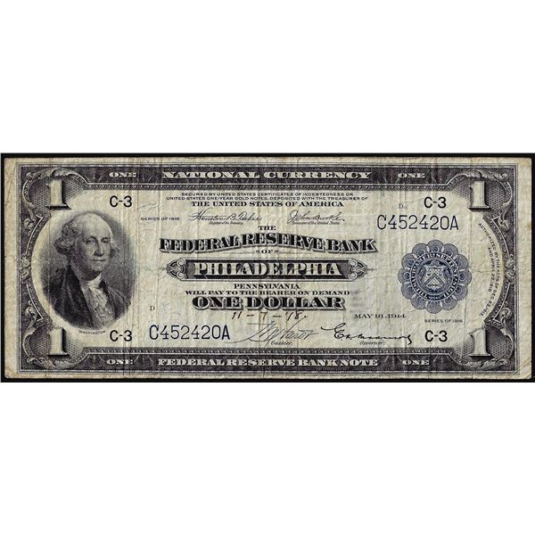 WWI Ending Signed 1918 $1 Federal Reserve Note