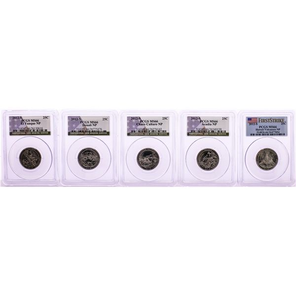 Set of (5) 2012-S National Parks Quarter Coins PCGS MS66