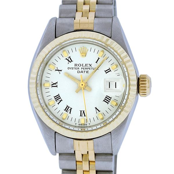 Rolex Ladies Two Tone White Index Oyster Perpetual Datejust Wristwatch
