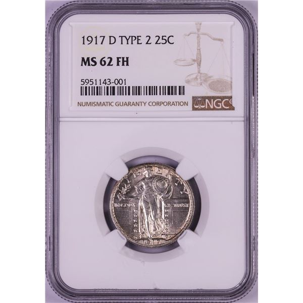 1917-D Type 2 Standing Liberty Quarter Coin NGC MS62FH
