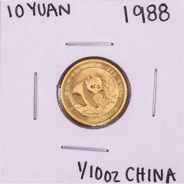 1988 China 10 Yuan 1/10 oz. Panda Gold Coin