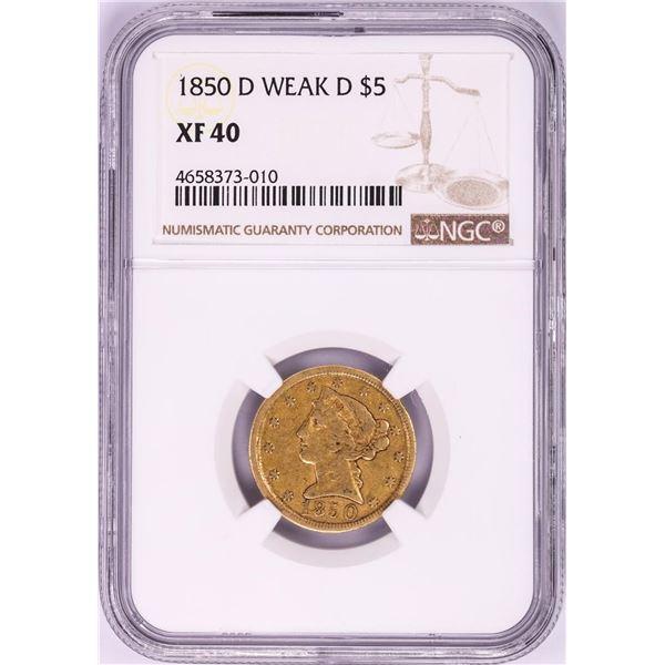 1850-D Weak D $5 Liberty Head Half Eagle Gold Coin NGC XF40