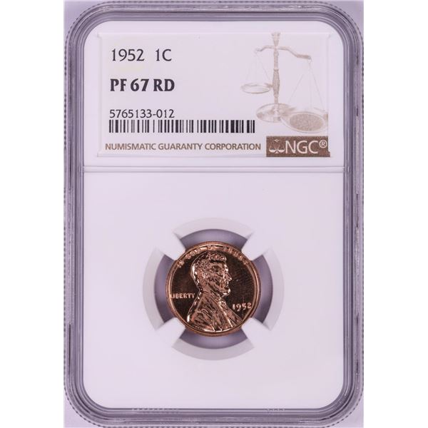 1952 Proof Lincoln Wheat Cent Coin NGC PF67RD