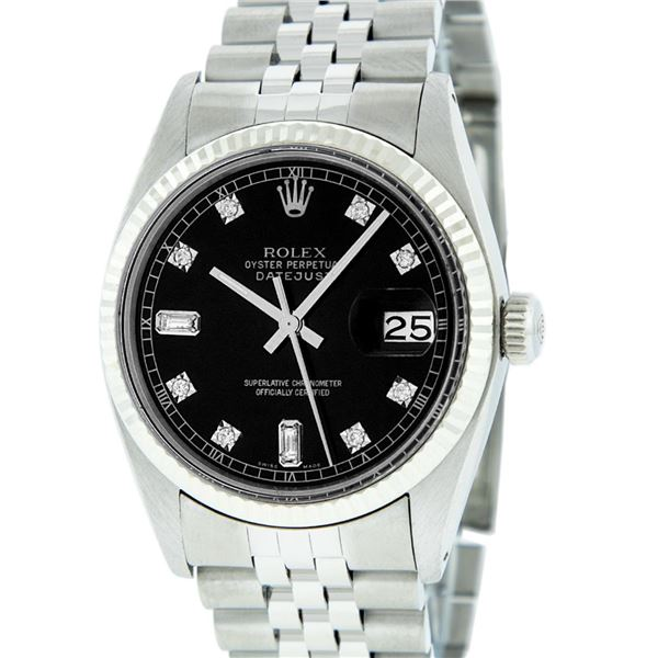 Rolex Mens Stainless Black Diamond Datejust Wristwatch Oyster Perpetual