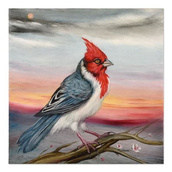 """Katon """"Red Crested Cardinal"""" Original Oil On Canvas"""