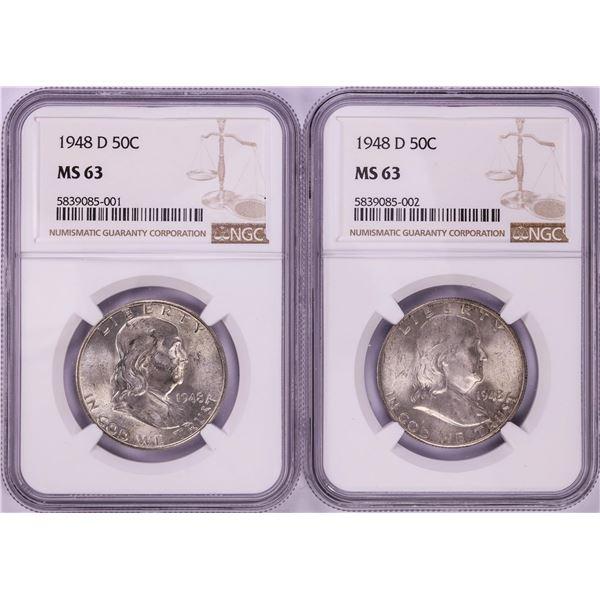 Lot of (2) 1948-D Franklin Half Dollar Coins NGC MS63