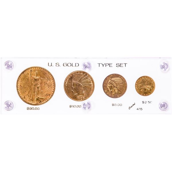 U.S. Gold Type Set of (4) Gold Coins in Capitol Plastic Holder