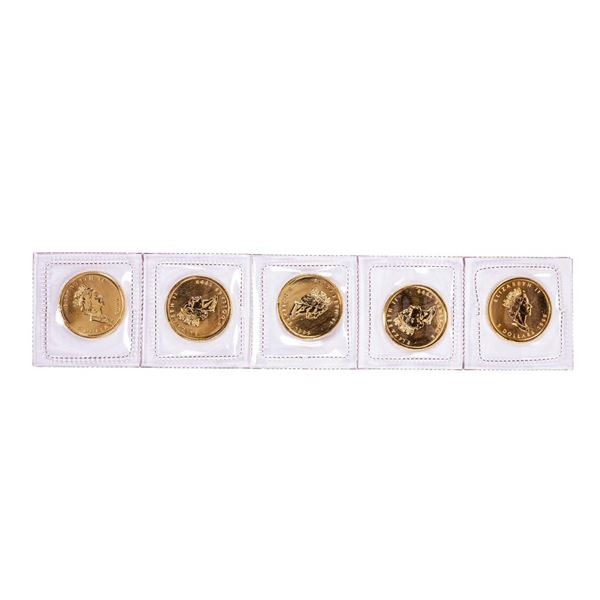 Lot of (5) Sealed 1999 Canadian $5 Maple Leaf Gold Coins