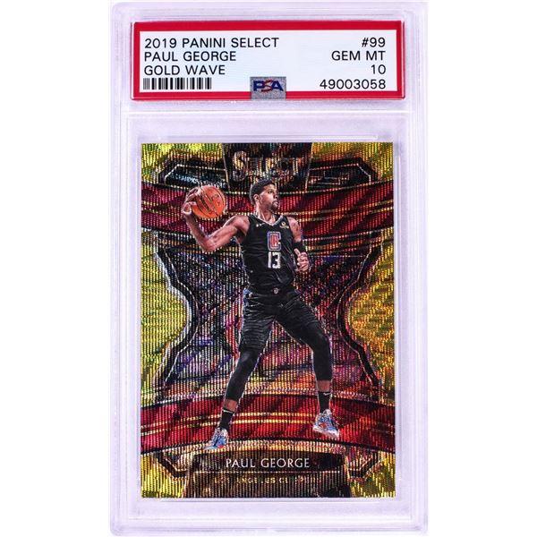 2019 Panini Select Gold Wave Paul George NBA Card #99 PSA Gem Mint 10