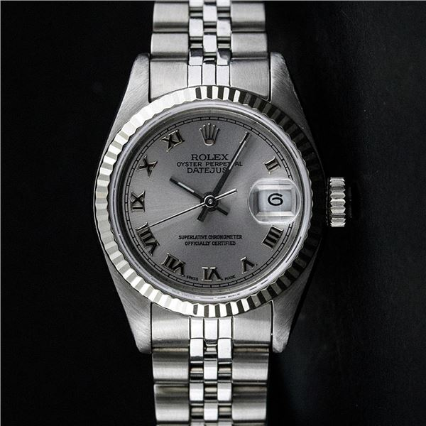Rolex Ladies Stainless Steel Slate Grey Roman Oyster Perpetual Datejust Wristwatch