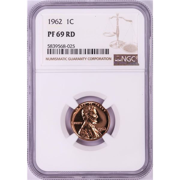 1962 Proof Lincoln Memorial Cent Coin NGC PF69RD