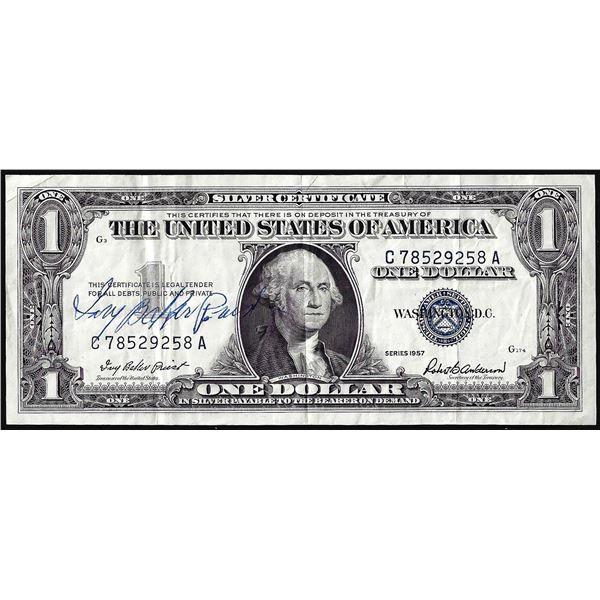 1957 $1 Silver Certificate Note Courtesy Autograph