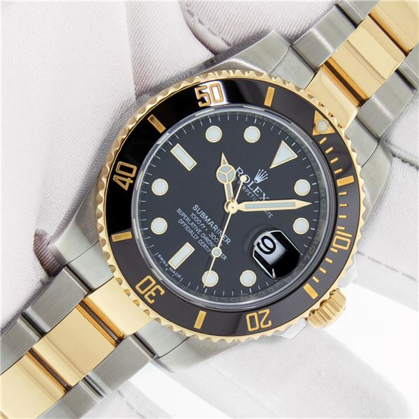 Rolex Mens 18K Yellow Gold and Stainless Steel Submariner With Box And Booklets