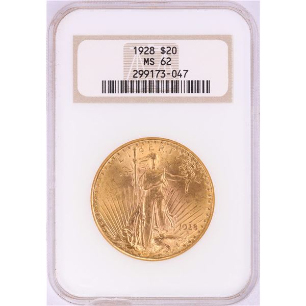 1928 $20 St. Gaudens Double Eagle Gold Coin NGC MS62-Chipped Slab