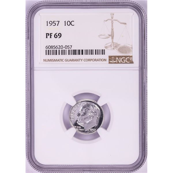 1957 Proof Roosevelt Dime Coin NGC PF69