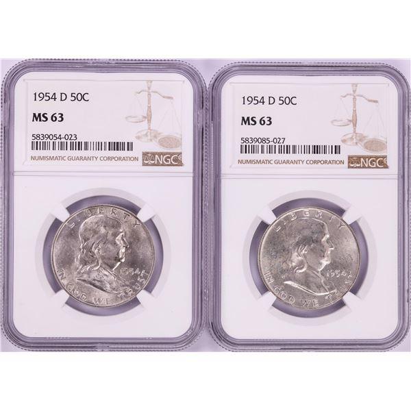 Lot of (2) 1954-D Franklin Half Dollar Coins NGC MS63