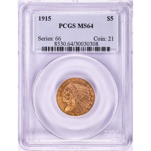 1915 $5 Indian Head Half Eagle Gold Coin PCGS MS64
