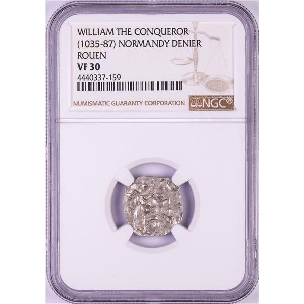 1035-87 William The Conqueror Normandy Rouen Denier Coin NGC VF30