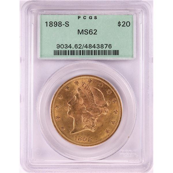 1898-S $20 Liberty Head Double Eagle Gold Coin PCGS MS62 Old Green Holder