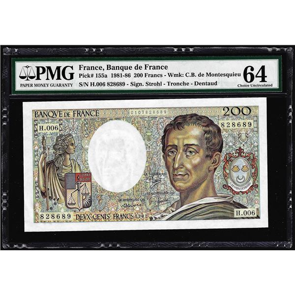 1981-1986 France Banque de France 200 Francs Note Pick# 155a PMG Choice Uncirculated 64