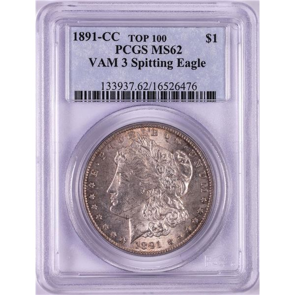 1891-CC VAM-3 Spitting Eagle $1 Morgan Silver Dollar Coin PCGS MS62 Top 100