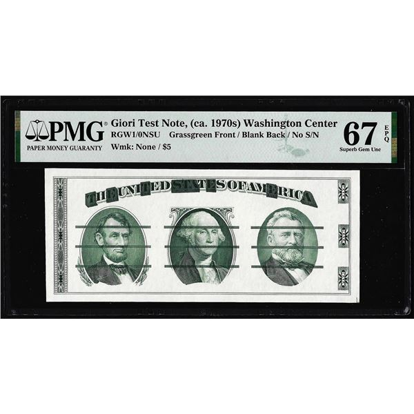 Circa 1970's Washington Center Giori Test Note PMG Superb Gem Uncirculated 67EPQ