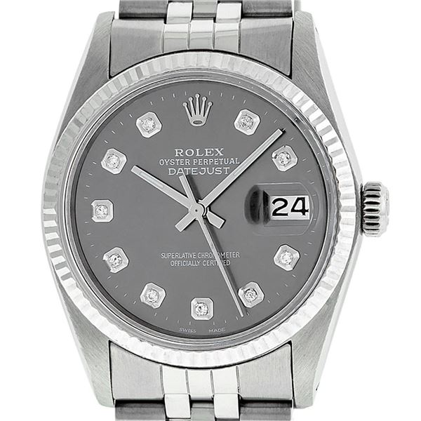 Rolex Mens Stainless Steel Slate Grey Diamond Oyster Perpetual Datejust Wristwatch