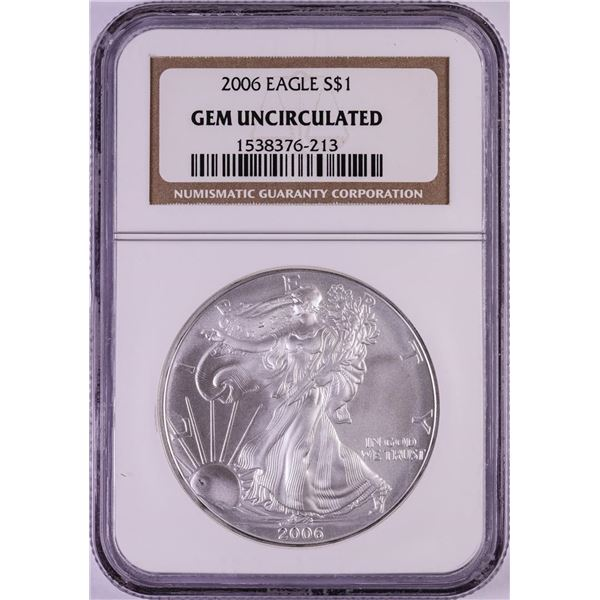 2006 $1 American Silver Eagle Coin NGC Gem Uncirculated