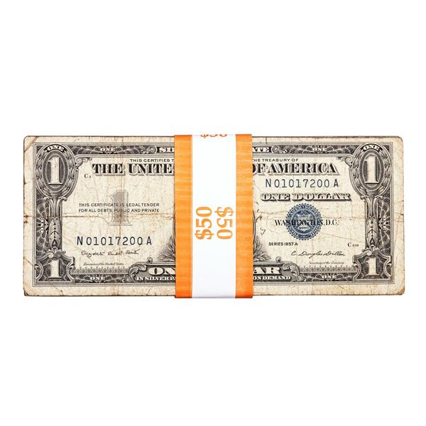 Lot of (50) 1957A $1 Silver Certificate Notes
