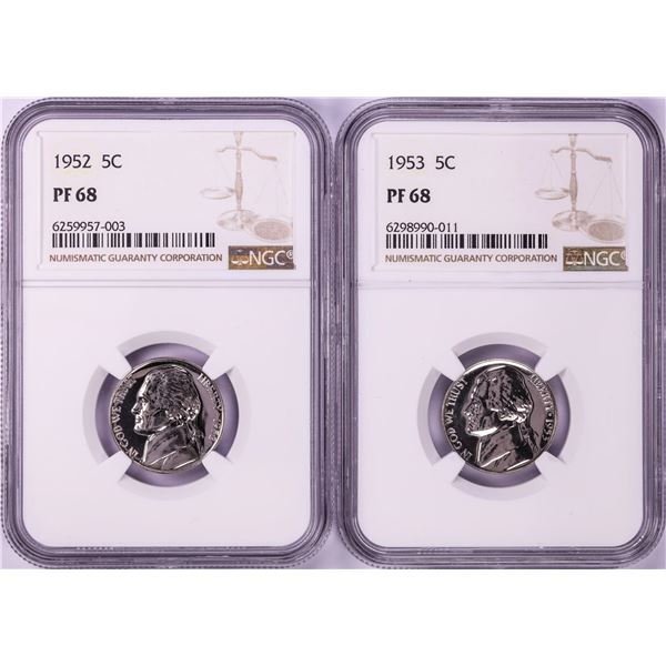 Lot of 1952-1953 Proof Jefferson Nickel Coins NGC PF68