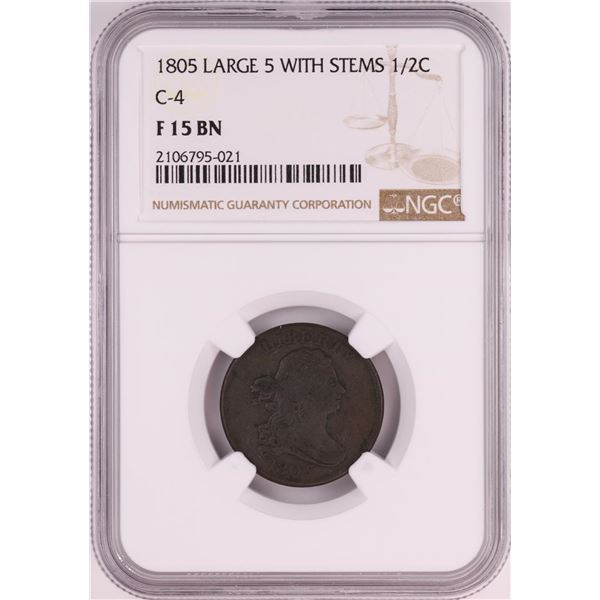 1805 Large 5 With Stems C-4 Draped Bust Half Cent Coin NGC F15 BN