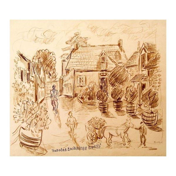 """Ensrud """"Entrance to Domaine de la Romanee-Conti, Burgundy"""" Original Pastel on Paper"""