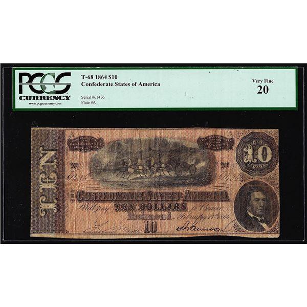 1864 $10 Confederate States of America Note T-68 PCGS Very Fine 20