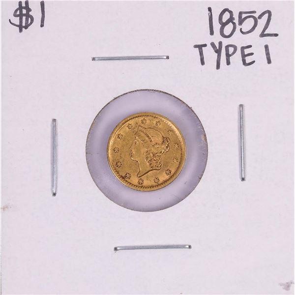 1852 Type 1 $1 Liberty Head Gold Dollar Coin