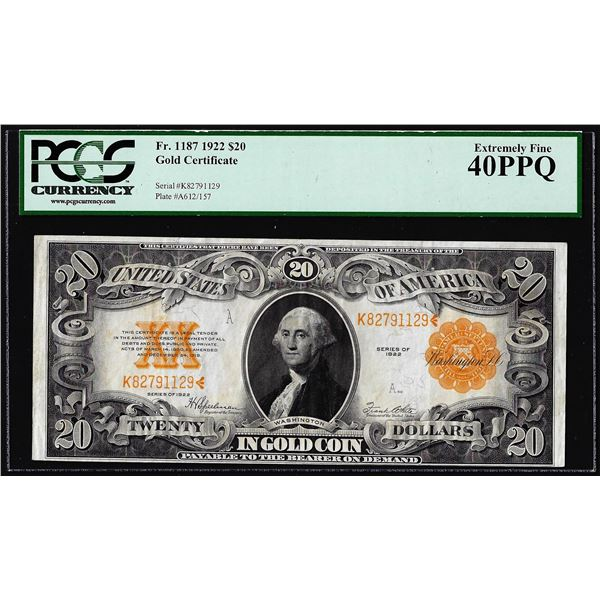 1922 $20 Gold Certificate Note Fr.1187 PCGS Extremely Fine 40PPQ