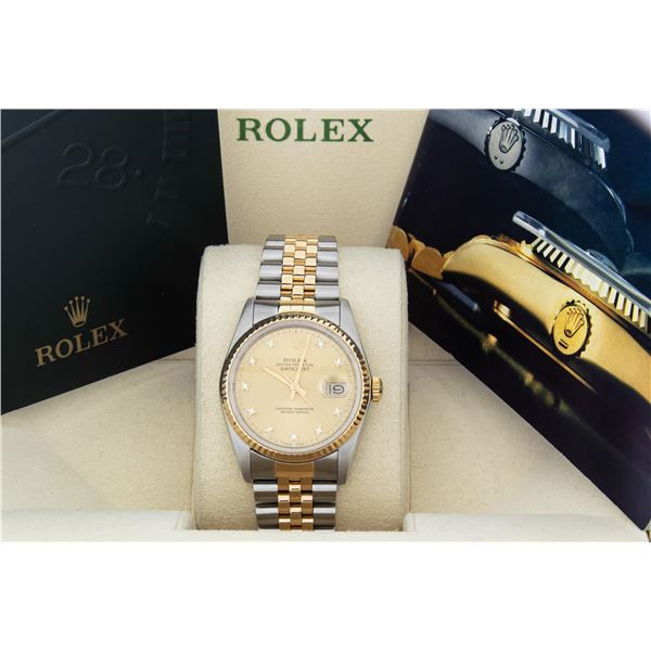 Rolex Mens Two Tone Factory Champagne Diamond Dial Datejust With Box And Booklets