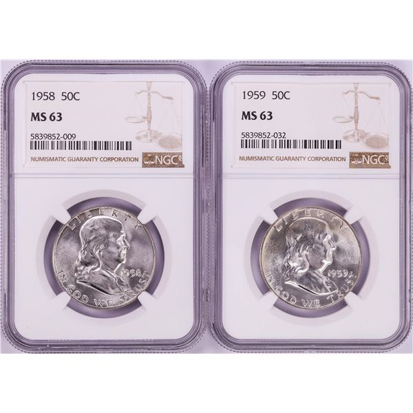 Lot of 1958-1959 Franklin Half Dollar Coins NGC MS63