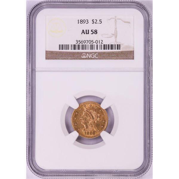 1893 $2 1/2 Liberty Head Quarter Eagle Gold Coin NGC AU58