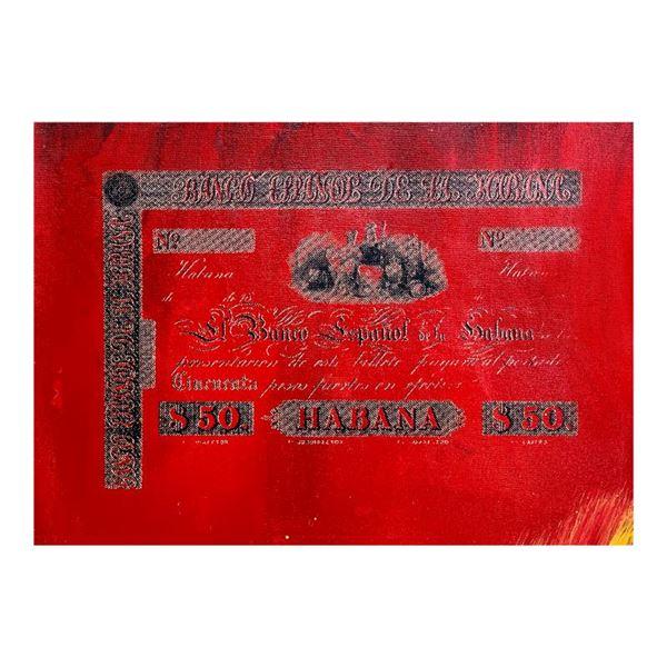 """Steve Kaufman (1960-2010) """"Banco Espanol De La Habana"""" Original Mixed Media On Canvas"""