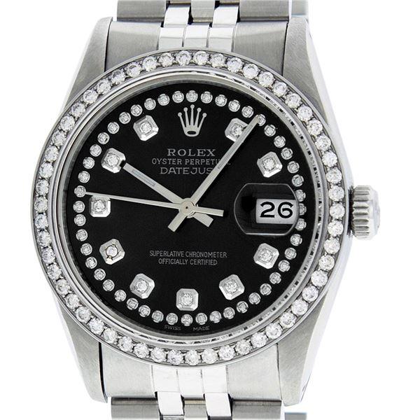 Rolex Mens Stainless Steel Black String Diamond Oyster Perpetaul Datejust Wristwatch