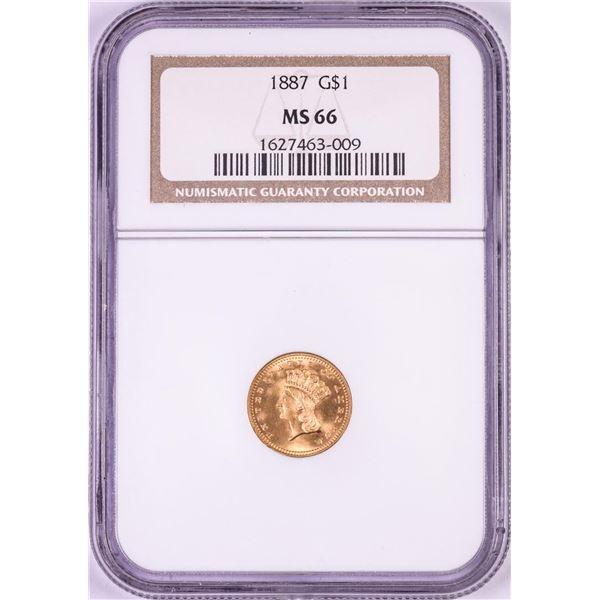 1887 Type 3 $1 Indian Princess Head Gold Dollar Coin NGC MS66