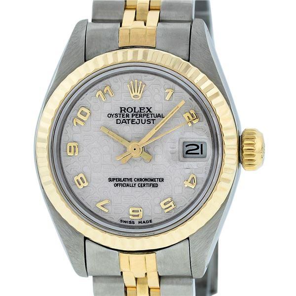 Rolex Ladies Two Tone Cream Jubilee Datejust Wristwatch