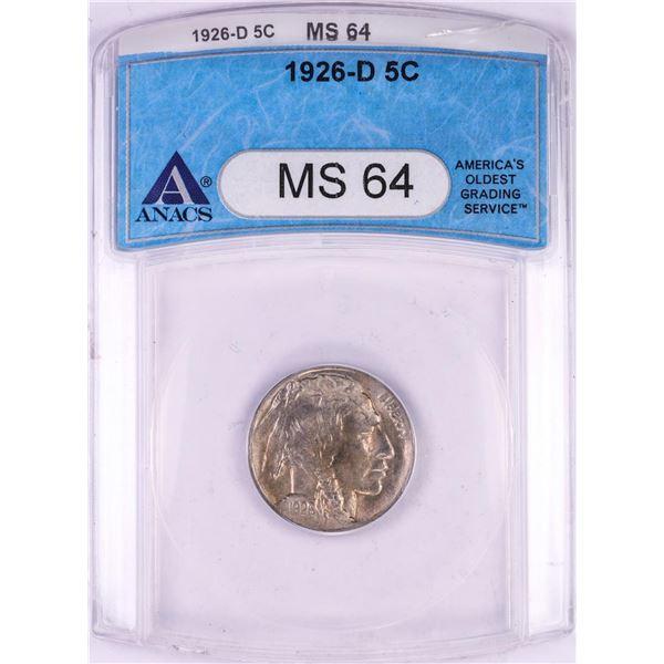 1926-D Buffalo Nickel Coin ANACS MS64