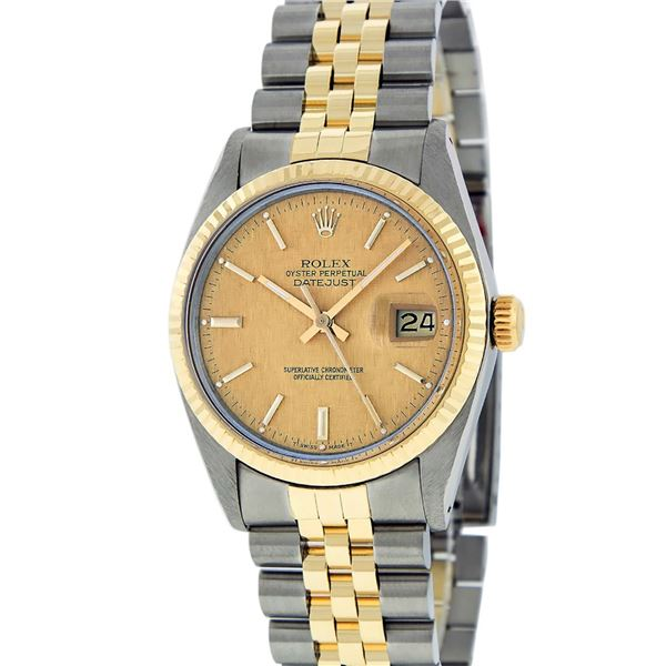 Rolex Mens Two Tone Champagne Linen Index Datejust Wristwatch Oyster Perpetual
