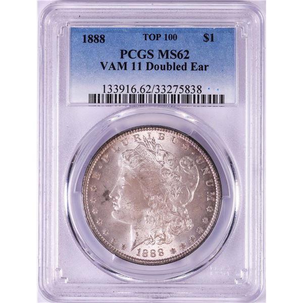 1888 Top 100 VAM-11 Doubled Ear $1 Morgan Silver Dollar Coin PCGS MS62